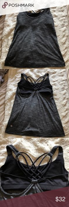 Lululemon workout Top Gently worn. This is a tank top with a built in sports bra. If you are confused by lulu sizing a size 4 is like a Small. I have a bunch of items in my closet so feel free to bundle🛍 I ship Monday-Saturday each day by 4pm📦💌 If making an offer, please be reasonable as Poshmark takes a hefty 20% of all items over $15 or a flat fee of $2.95 if the item is under $15😊 Smoke free home🚭 Always sending good vibes and happy poshing🌞❤️✨ lululemon athletica Tops Tank Tops