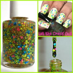 """""""Let the Crazy Out"""" Neon Green Blue Pink Stars Indie Nail Polish Glitter Topper #HandmadeIndie : I love how Cheerful & Bright this one is! I would wear this one in the Spring or Summer!"""