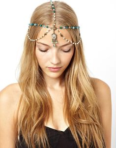 Lovely New Goddess Pearl Turquoise Gold Head Chain Headpiece Crystal Hair Band #Handmade