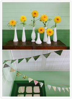 Shower flowers -   yellow flower, white vases and paper bunting