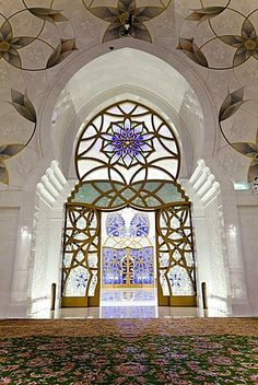 Interior of the prayer hall of Sheikh Zayed Bin Sultan Al Nahyan Mosque, Abu…