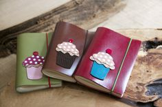 Cup Cake sketchbook %100 hand made leather by kumm design