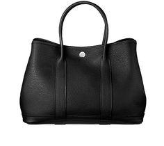 Garden Party TPM Bag, Black negonda leather with chevron canvas lining, TPM size