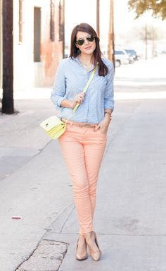 Fashion Favourites: Polka Dot Chambray, Peach Jeans and Neon Bag