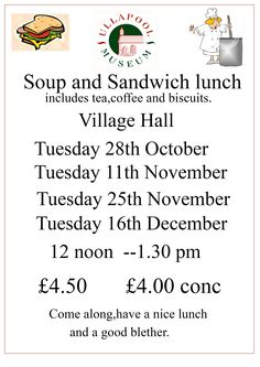 Our season of fund raising lunches start on Tuesday 28th October 2014.
