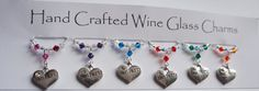 Hen Party Wine Glass Charms, Heart Wine Glass Charms, Hen Party Gifts, Hen Night Charms, Swarovski Crystal Charms