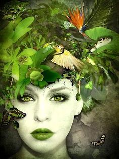 Abstract Portrait of Woman in Green Foto Fantasy, Fantasy Art, Style Vert, Mother Nature Costume, Foto Fashion, Green Photo, Fantasy Makeup, Gothic Makeup, Green Fashion