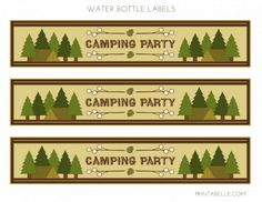 Free Camping Party Printables (with DIY S'mores and Trail Mix bar signs and cards)  #freeprintables #campingparty