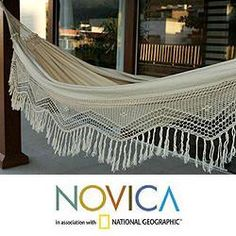 @Overstock - Designed for optimal comfort and enviable relaxation, this beautiful hammock is from Brazil's Hammock Artisans of Ceara. The hammock woven in natural cotton hues is finished by hand with lavish crocheted florid draping.http://www.overstock.com/Worldstock-Fair-Trade/Cotton-Manaus-Majesty-Hammock-Brazil/6084424/product.html?CID=214117 $119.99