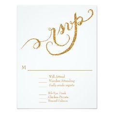 RSVP Response Script Forever in Love Gold Glitter 4.25x5.5 Paper Invitation Card