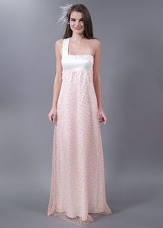 French #tulle overlay in Peach Sherbet with little peach and grey dots...this is truly the cutest #wedding dress you'll ever see!  Cooper Wedding Gown by http://57grand.com/shopping/item_details.html?ID=84  Photo Credit: http://57grand.com/