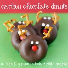 Caribou Chocolate Donuts are a fun holiday dessert! Kids can make their own!