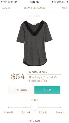 Hannah - Great staple top! Moon & Sky Brookings Crochet V Neck Knit Top in XL.  I love this top!