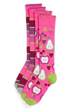 Nordstrom 'Apple a Day' Knee High Socks (2-Pack) (Toddler Girls, Little Girls & Big Girls) | Nordstrom