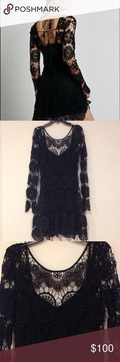 Free People Night Out Black Crochet Lace Dress Free People Night Out Black Crochet Lace Boho Mini Slip Dress XS Rare NWOT $168 Free People Dresses