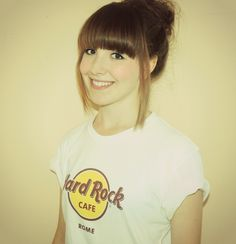 my new hair, full fringe and hard rock café top