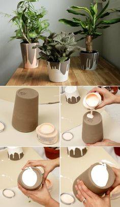 DIY home decor.- DIY home decor. - DIY home decor. Decoration, hot …- DIY home decor. Diy Décoration, Easy Diy, Diy Crafts To Sell, Home Crafts, Clay Pot Crafts, Painted Plant Pots, Fleurs Diy, Concrete Crafts, Concrete Projects