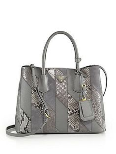 Prada Patchwork Crocodile, Python, Suede & Saffiano Leather Tote