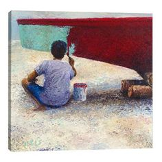 "JaxsonRea ""My Thai Boat Painter"" by Iris Scott Painting Print on Wrapped Canvas Size: 48"" H x 48"" W x 1.5"" D"