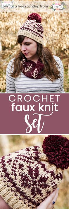 Get the free crochet pattern for this faux knit fair isle beanie hat and cowl scarf from Sewrella featured in my crochet that looks knit FREE pattern roundup!