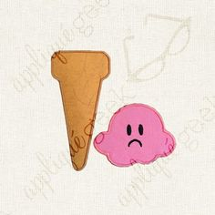 Sad Scoop of Ice Cream Applique Embroidery Design INSTANT DOWNLOAD for DIY projects, from Designed by Geeks. Use any embroidery machine - Brother, Viking, Janome, Bernina, Pfaff, Singer - to stitch this design.  This is a machine appliqué design with a sad scoop of ice cream that fell off its a cone.