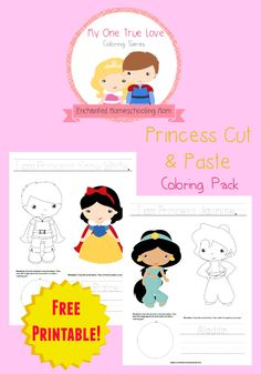 Come have fun coloring with this fun FREE Princess themed cut and paste coloring pack!