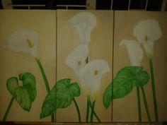 3 Canvas.  Oil on canvas.  Arum lilies 2014- Krappie Crafford