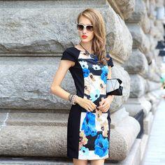 PRASE女装 欧洲站2016春装新款名媛气质印花一步裙拼接显瘦连衣裙