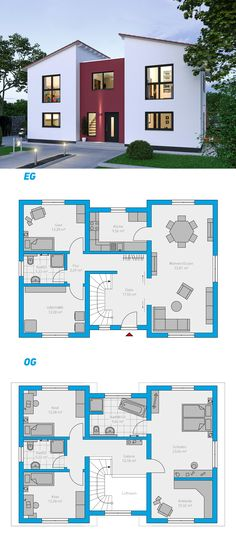 Illius 176 - schlüsselfertiges Massivhaus Illius 176 - Maison solide clé en main à 2 étages # ingutenwänden # À 2 étages Open Floor House Plans, Porch House Plans, Sims House Plans, Basement House Plans, Country House Plans, Modern House Plans, Small House Plans, Beautiful House Plans, Beautiful Homes
