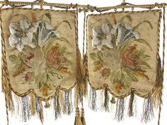 Antique Pair of Victorian Needlework Beaded Face Screens from 43chesapeakecourt on Ruby Lane