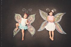 Girl photography toddler sister friends chalk art