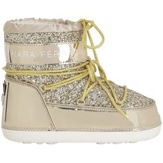 Chiara Ferragni Women 30mm Glitter Snow Boots ($295) ❤ liked on Polyvore featuring shoes, boots, gold, shearling lined snow boots, short heel shoes, metallic boots, shearling lined shoes and metallic shoes