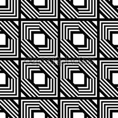 Бесшовные черно-белый геометрический рисунок, простой векторной полосой —…