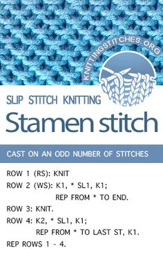 Terrific Absolutely Free knitting stitches easy Concepts LEARN HOW TO KNIT the Stamen Slip Stitch Knitting. Very easy to knit. Slip Stitch Knitting, Easy Knitting Patterns, Loom Knitting, Knitting Needles, Knitting Projects, Stitch Patterns, Knit Stitches, Sewing Projects, Knitting Ideas