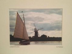 Norfolk Broads Photograph, Sailing Print, Yacht, Holiday Yacht, Signed Limited Edition A4 Landscape Color Photograph, 40cmx30cm (16x12) Mount. A delightfully stunning view of a yacht sailing past St Benets Mill on the Norfolk Broads in the UK. The Norfolk Broads is one of Britain's