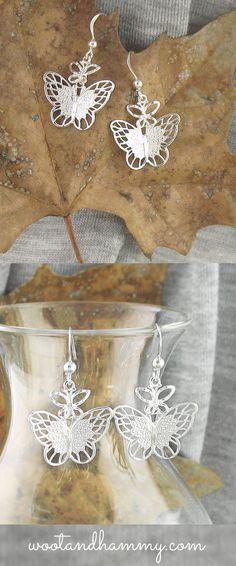butterfly dangle earrings in sterling silver