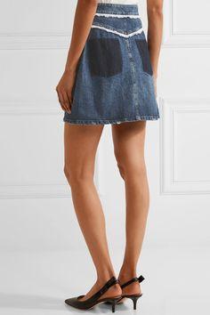 Miu Miu - Broderie Anglaise-trimmed Denim Mini Skirt - Mid denim - IT42