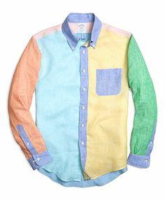 Men's Slim Fit Linen Fun Sport Shirt. Red Fleece Brooks Brothers.