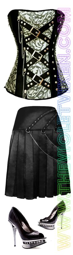 Green and black whips and chains corset paired with pleated black skirt with chain detail and high heel diamond shoes! <3 www.thevioletvixen.com