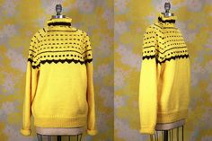 Vintage Vtg Vg 1990's 90's Charlie Brown Hand Knit Yellow and Brown Sweater Oversized Unisex Adults Hipster Grunge Retro Hand Made Winter by foxandfawns on Etsy