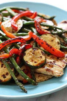 Honey Balsamic Grilled Chicken and Vegetables.Grilled chicken breast, zucchini, red peppers and asparagus topped with a honey balsamic dressing From: Skinny Taste, please visit