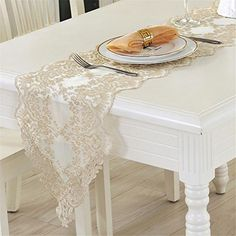 European style Table Runner Lace Cloth Dining Table Coffee Table Table Runner TV Cabinet Tablecloth White , 3070cm
