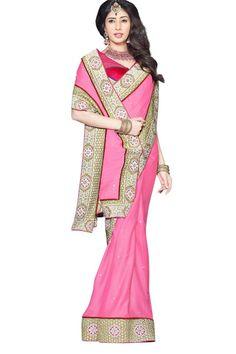 Pink Faux Georgette Latest Designer Saree