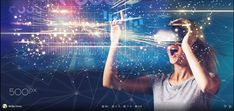 Woman in virtual reality headset — Stock Image Virtual Reality Headset, Intelligent Design, Concert, Woman, Image, Smart Design, Concerts, Women