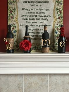 Diy wine bottles. Spray painted with burlap twine. By MB