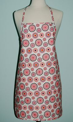 Pink  Orange and Brown MultiDotted Apron by BabsBoutiquee on Etsy, $16.00