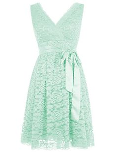 Olidress Women s Short V-neck Lace Bridesmaid Dress Prom Dress Mint US2  Olidress http  3691fca97385