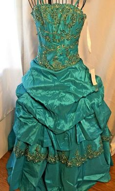 c7efcd44 Chicas Formal Sz XS Turquoise Ball Gown Puff Layers Strapless Queen Mermaid  #Chicas #PromDressBallGownTheaterCostume