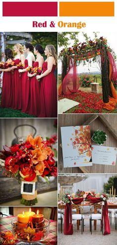vibrant red and orange fall wedding color ideas #DorisWedding.com