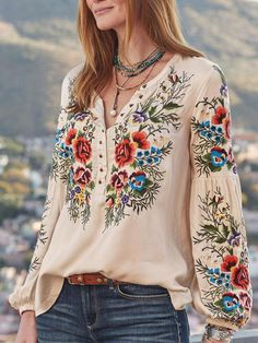 Women Boho Blouses Casual V Neck Long Sleeve Embroidery Plus Size – Wotoba Style Outfits, Fashion Outfits, Womens Fashion, Mode Jeans, Look Fashion, Fashion Design, Casual Tops, Fashion Prints, Blouses For Women